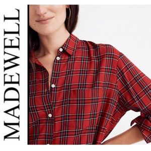 Madewell Oversized Ex-Boyfriend Shirt/ Tarten Red